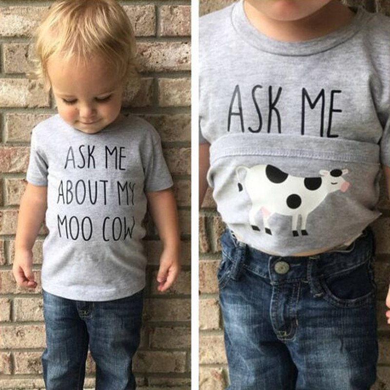 Boys T-shirt Novelty Ask me about My Moo Cow Letter Funny Kid Boy Short Sleeves Toddler Tops Inside Cow T Shirt Q1