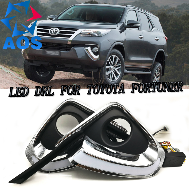 2PCs/set LED DRL Car daylight Daytime Running Lights DRL For Toyota Fortuner 2015 2016 free shipping 12V 6000K yatour car adapter aux mp3 sd usb music cd changer 6 6pin connector for toyota corolla fj crusier fortuner hiace radios