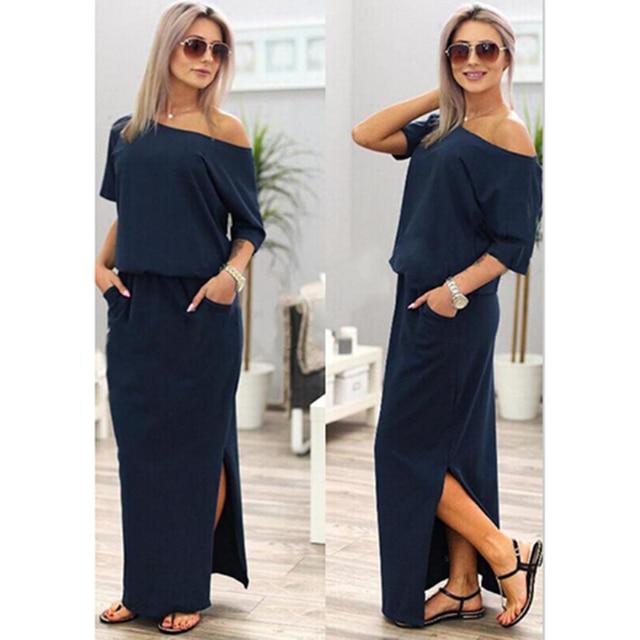 Women Boho Maxi Dress Short Sleeve Side Slit Dress