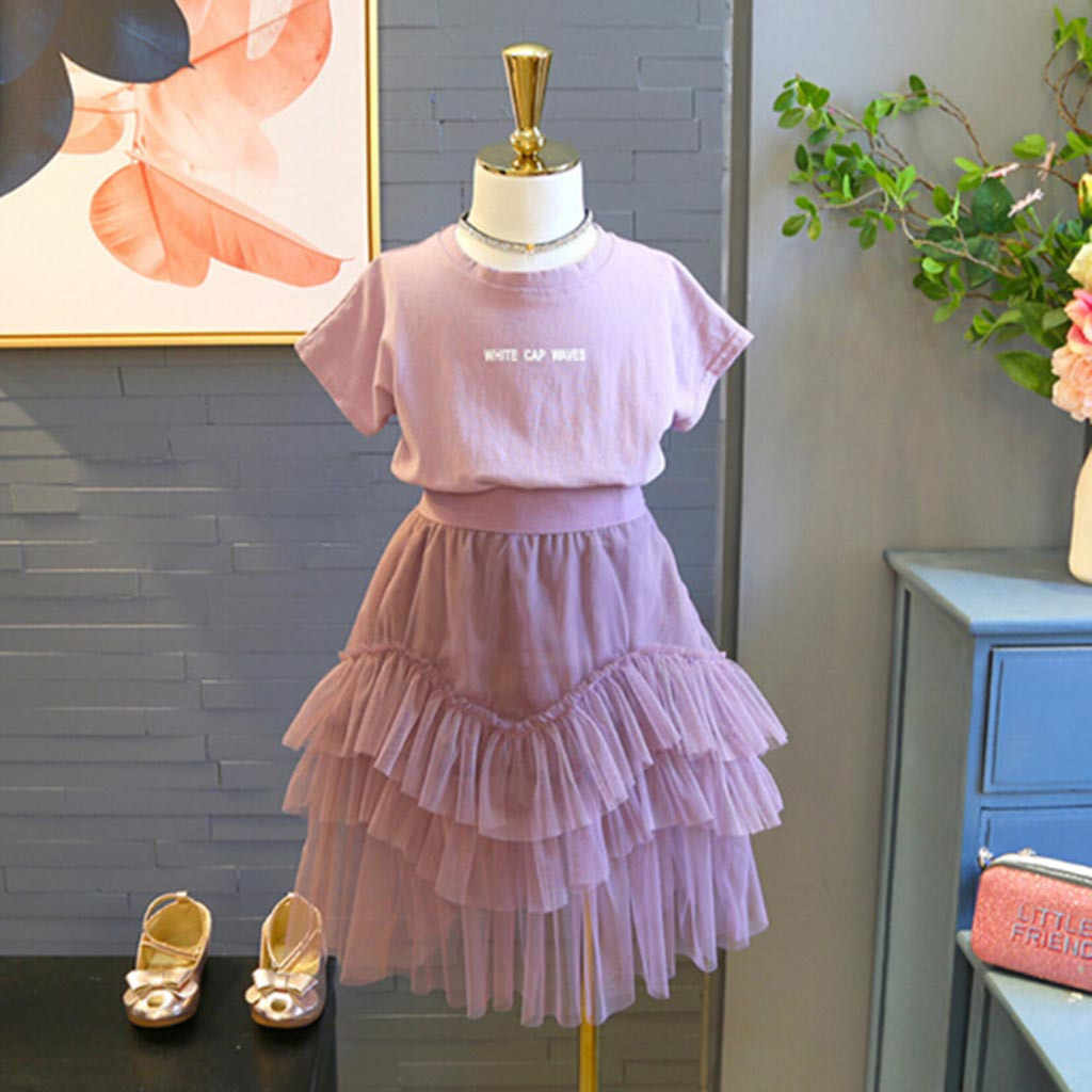 67f3de438474 Toddler Kids Baby Clothing Set Girl Outfits Clothes Letter Print T-shirt  Tops+Tulle
