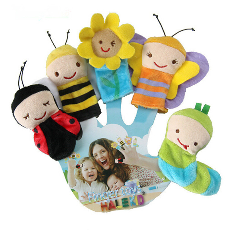 5Pcs/Set Cute Insect Shape Finger Puppets Baby Comfort Toys Theater 8cm Mouth Hand Puppet Plush Toy Children's Bedtime Story Toy