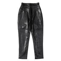 EI BAWN Real Sheepskin Harem Pants Women Black Elastic Waist Female Trousers Leather Zippers Genuine Leather Ladies Trousers