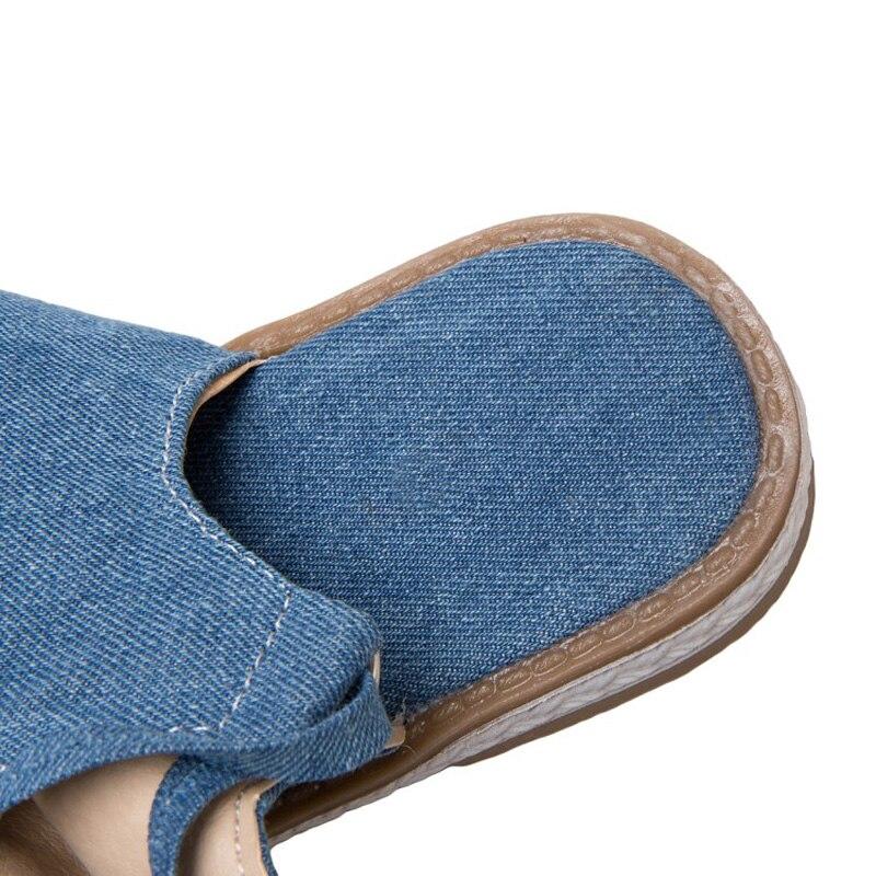 Nouvelles chaussures d'été pour femmes mode Denim genou haute femmes gladiateur sandales Sexy dos croisé noué haut tongs sandales de plage - 5