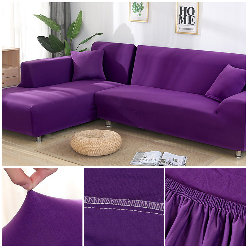 L shaped Solid Sofa Cover with Elastic for Sectional and Corner Sofa with Deep Gap Suitable in Living Room and Office 23