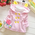 Autumn Warm Winter Baby Girls Infant Kids Cute Flower Double Breasted Hooded Cap Jackets Parkas Outerwears&Coats Cardigan MT385