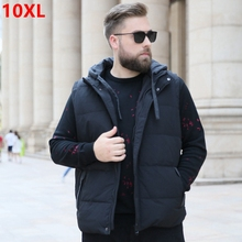 Erkekler ekstra geniş aşağı yelek Kış artı boyutu kolsuz aşağı ceket ceket ayrılabilir kap yakışıklı 10XL 9XL 8XL 7XL 6XL