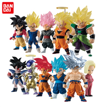 Figura de coleção de anúncios bandai original, modelos de gokou kakarotto bejita gogeta broly no.17 18 goten trunks vegetto freeza