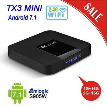 Tanix TX3 Мини ТВ-приставка на базе Android СВЕТОДИОДНЫЙ Дисплей Android 7,1 Amlogic S905W, 2 Гб оперативной памяти, 16 Гб встроенной памяти, 2,4G Поддержка wi-fi 4 K H.265 YouTube media Player