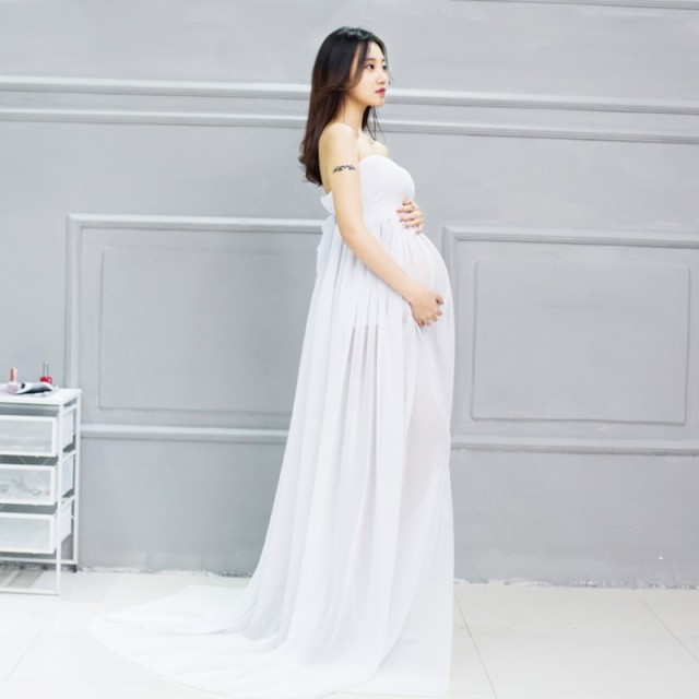 52c1ea5c7c312 Maternity Photography Props Chiffon White Pregnant Women Dress Maternity  Strapless Lace Photoshoot Gown/Dress 430