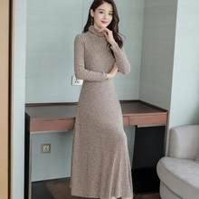 e40610db41f Autumn Women Long Sleeve Knitted Robe 2019 Turtleneck Slim A-line Party Maxi  Dress Plus Size Female Sweater Dresses DC349