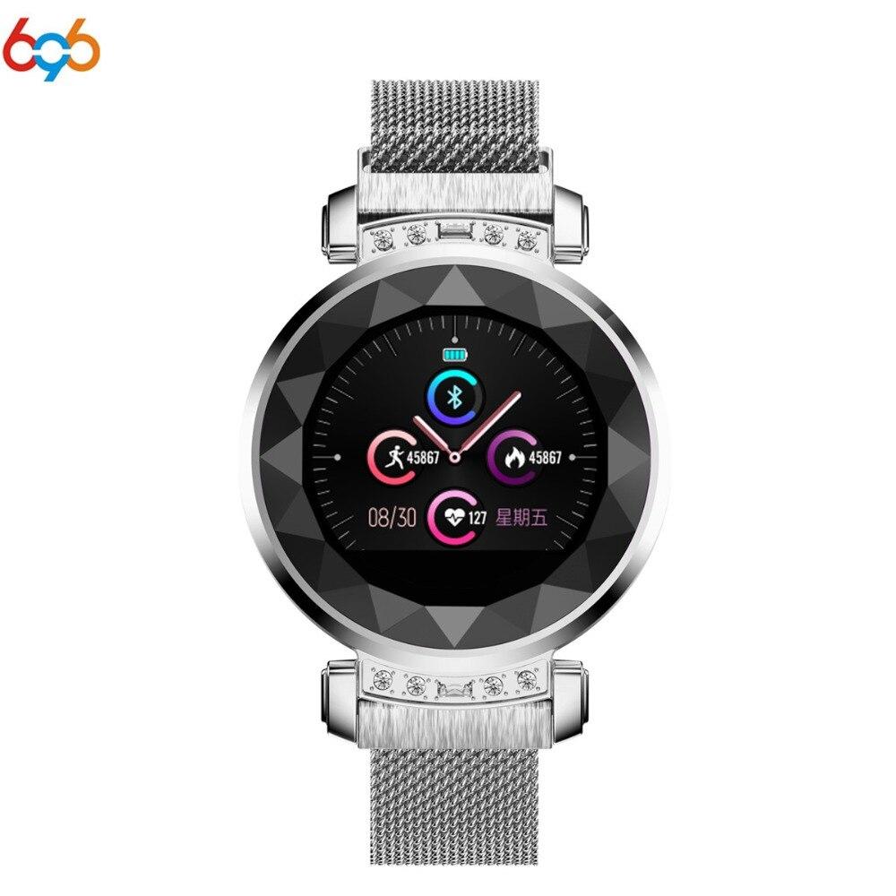 696 H2 Plus montre intelligente femmes 3D diamant verre bracelet intelligent fréquence cardiaque pression artérielle moniteur de sommeil meilleur cadeau Smartwatch