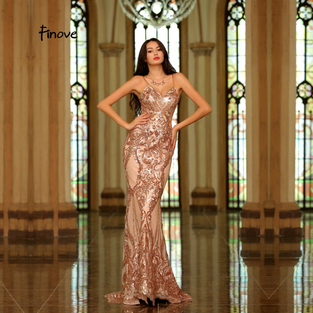 Finove Reflective Dress 2019 Rose Golden Formal Evening Dress Sequined Beading Spaghetti Strap Floor Length Party