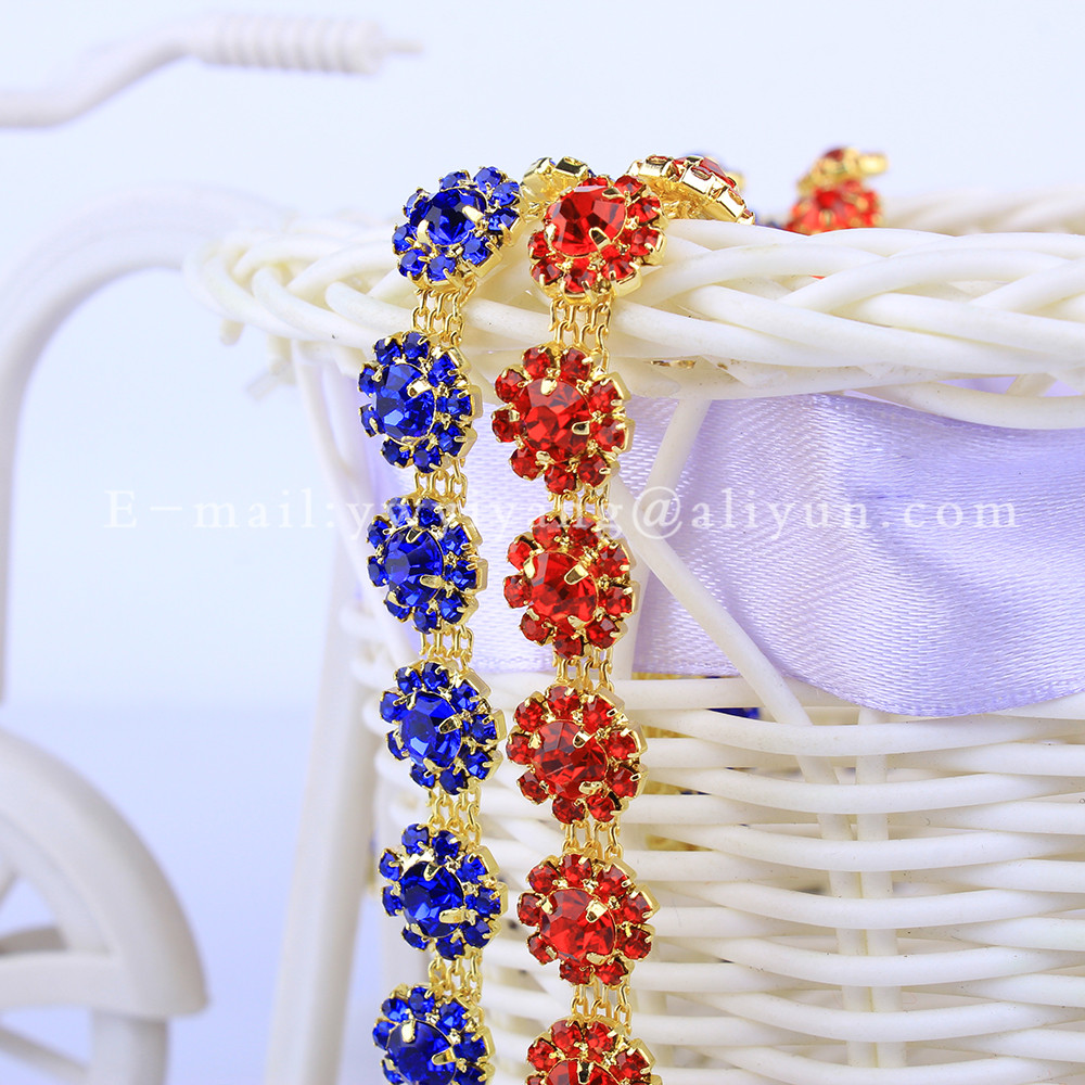 5Yards Flower shape Clear Rhinestone Trim Cup Chain Bridal Dress Applique  Glass Stone Decorationf for Belt f5bfc27e737e