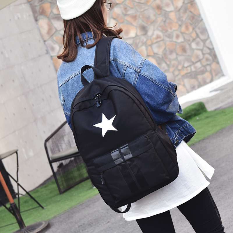 New fashionable star printing nylon women backpack college student school book bag leisure backpack travel bag