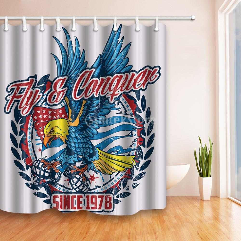 American USA Patriotism Flying Eagle Painted Polyester Bath Shower Curtain