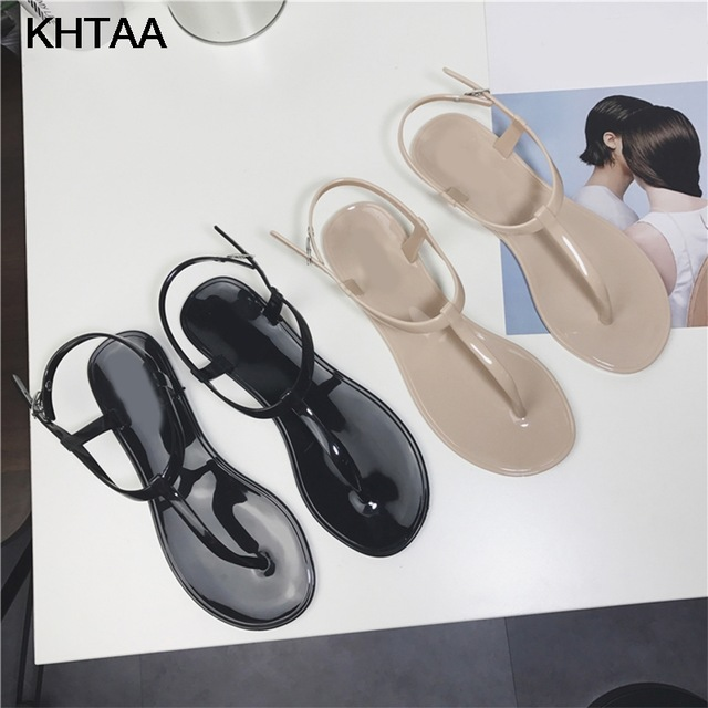 KHTAA Women T Strap Flat Ankle Buckle Thong Sandals Female Gladiator Flip Flops Summer Beach Casual Fashion Vintage Shoes Jelly mcckle plus size gladiator sandals for women flip flops cross strap female flat shoes zipper casual summer beach ladies sandal
