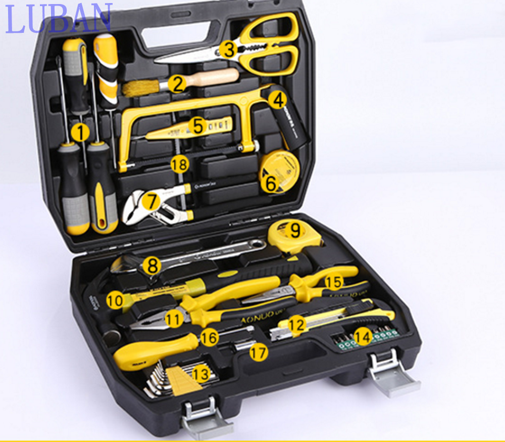 High - quality 39Pcs hardware combination tools chrome vanadium steel household tools combination set LUBAN 46pcs socket set 1 4 drive ratchet wrench spanner multifunctional combination household tool kit car repair tools set