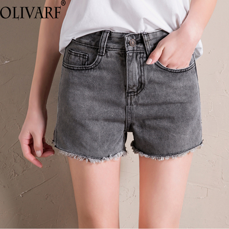 OLIVARF European Style Women Shorts Fashion Frayed Tassel Denim Shorts Washed Sexy Shorts Summer Jean Shorts feminino hot bottom