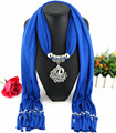 New Arrival Charms Scarf Long Necklaces Tassel Bead Vintage Alloy Peacock Pendant Scarf Necklaces Women Scarf Necklaces Jewelry