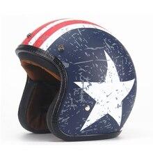 Бесплатная доставка 1 шт. Высокое Качество Открытым Лицом Мотоциклетный Шлем Оболочки Старинные Хейли Шлем Мопедов Мотоциклов Шлемы