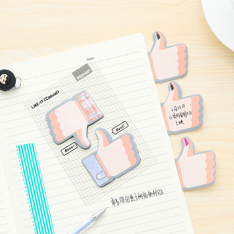 Kawaii Thumbs Up Memo Pad Cute notepad Mini Paper Sticky 2pcs Bookmark Post Note Korean Stationery Office School Supplies