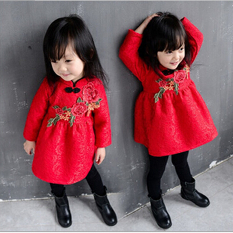 cute Girl Dress Princess Knitted Children Clothing Chinese knot Embroidery Costume Kid's Party Dress Baby Girl Clothes 100 super cute little embroidery chinese embroidery handmade art design book