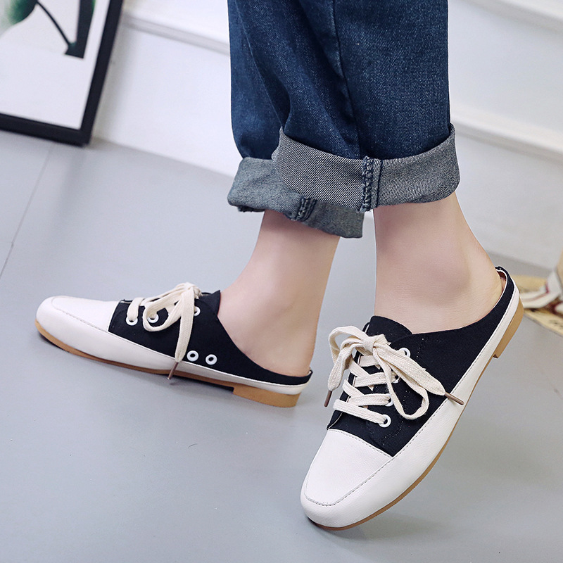 2019 spring new womens canvas shoes with lazy flat casual baotou half slippers
