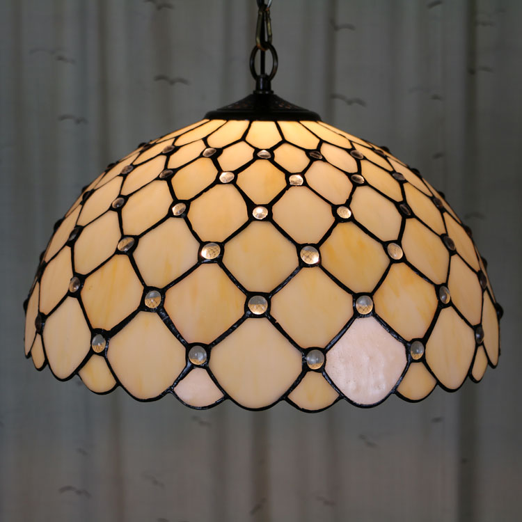 16inch Bohemian Tiffany lamps color Suspended Luminaire E27 110-240V Chain Pendant lights for Home Parlor Dining Room