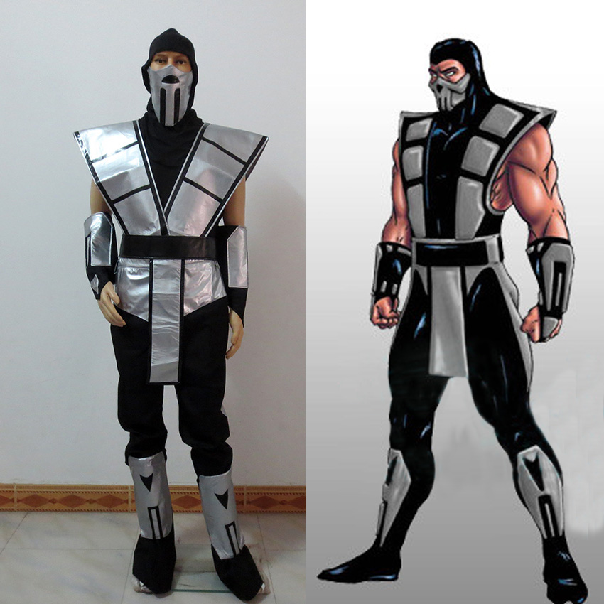 Scorpion Mortal Kombat 3 Silver Outfit Cosplay Costume With Gloves And Mask Customize Free Shipping