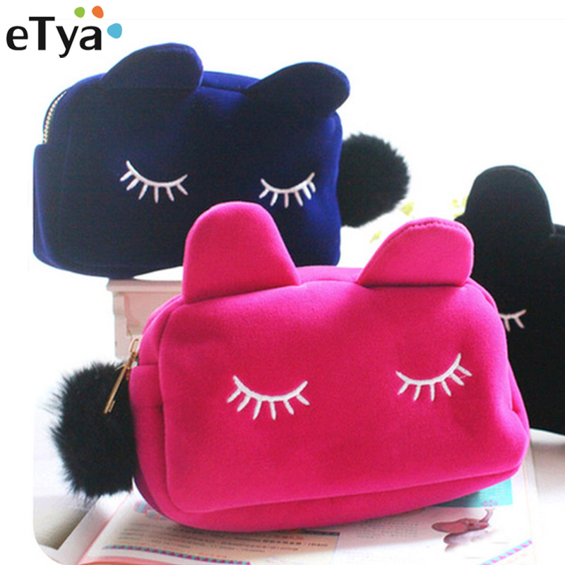 eTya Cartoon Cat Portable Zipper Cosmetic Bag Travel Toiletry Storage Pouch Women Makeup Day Use Nesesser Cosmetic Small Bags цена 2017