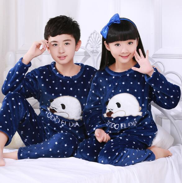 Autumn Winter Children Fleece Pajamas Warm Flannel Sleepwear Girls Boys Loungewear Coral Fleece Kids Pijamas Homewear Pyjama M09