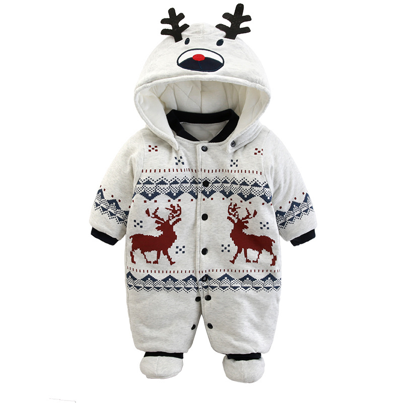 2017 New Baby Rompers Winter Thick Warm Baby Boy Clothing Long Sleeve Hooded Jumpsuit Kids Newborn Outwear For 0-12M