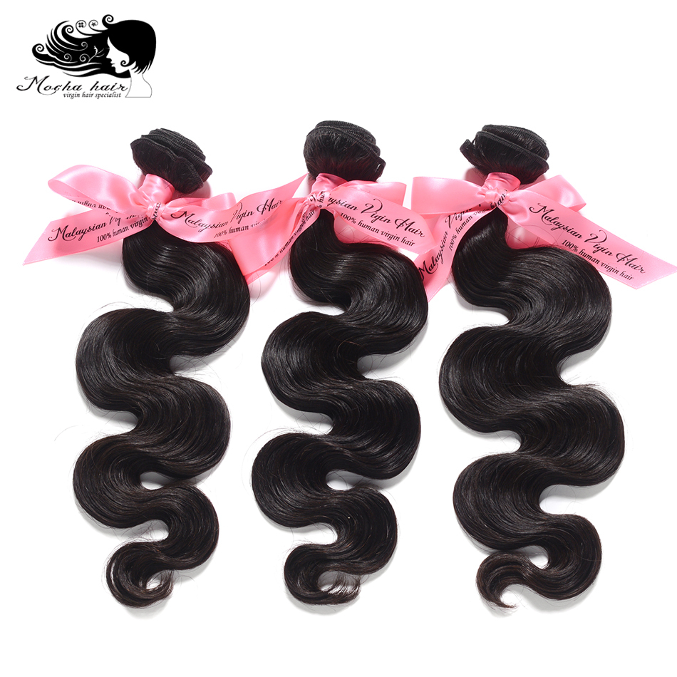MOCHA Hair 3 Bundles Malaysian Virgin Hair Weave Bundles Body Wave Unprocessed Human Hair Extension Natural Color Free Shipping