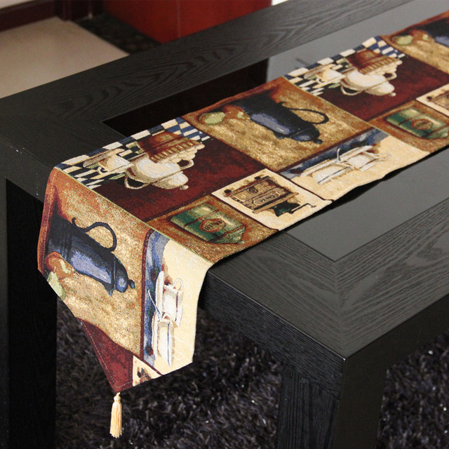 Table Runner Retro Nostalgia Coffee Bed Embroidered Cotton Linen Leaves Many Types British Style