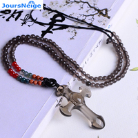 JoursNeige Natural Ice Obsidian Stone Crosses Pendant 6mm Beads Chain Lucky Men Women Crystal Pendant Necklace