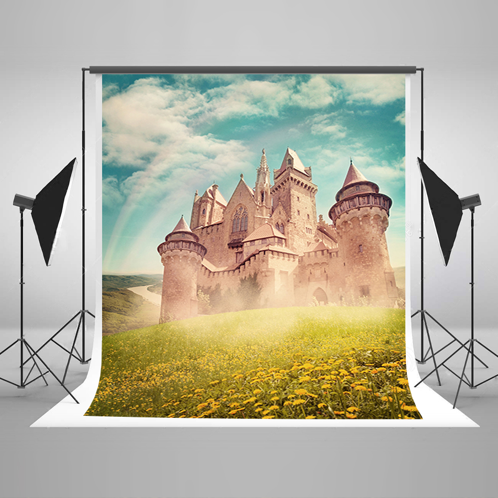 Wedding Photo Background Sunshine Castle Digital Printing Backdrops Blue Sky And White Clouds Backgrounds for Photo Studio