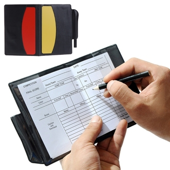 New Sport Football Soccer Referee Wallet Notebook with Red Card and Yellow Card недорого
