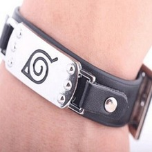 Hot anime Naruto Silver Alloy Bracelet Leather Punk Bangle cosplay jewelry