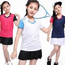 Спортивная одежда для настольного тенниса, детские юбки для девочек, tenis masculino, быстросохнущие футболки для настольного тенниса из полиэстера, Детский костюм для бадминтона, Спортивная футболка