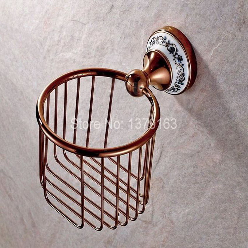 Bathroom Accessories Rose Golden Brass Ceramic Flower Pattern Wall Mounted Toilet Paper Roll Holder Shower Storage Basket aba389 diamond ceramic base golden brass bathroom toilet paper holder wall mounted