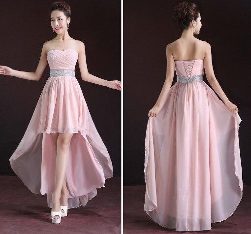 bajo alto vestidos graduación champagne beige rosa púrpura de la
