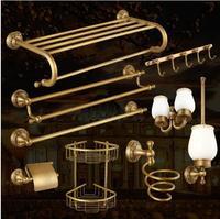 Antique Bronze Brass Carved Bathroom Accessories Set Bathroom Products Solid Brass Bath Hardware Sets Towel Rack,Paper holder