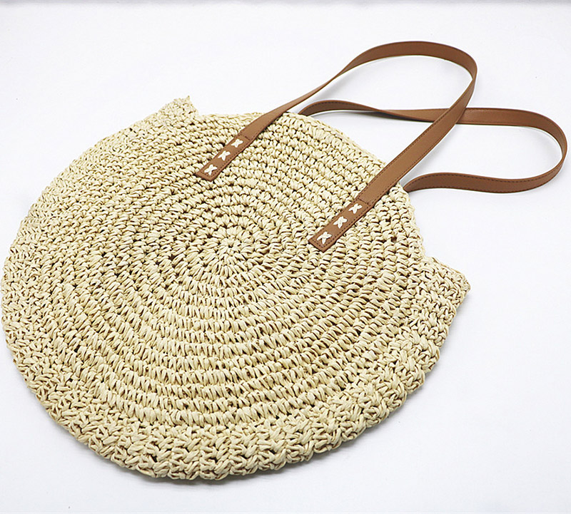 REREKAXI Hand-woven Round Woman's Shoulder Bag Handbag Bohemian Summer Straw Beach Bag Travel Shopping Female Tote Wicker Bags 9
