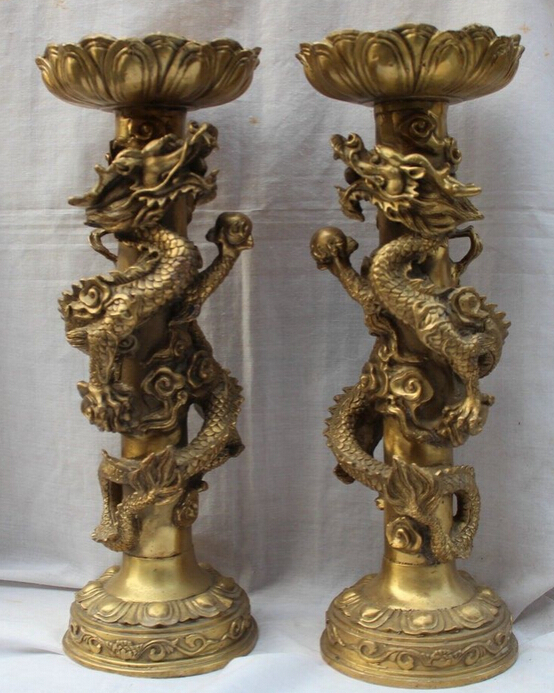 zhaomeirui41++15 Huge Chinese Brass Dragon Play Ball Statue Candlestick Candle Holder Pairzhaomeirui41++15 Huge Chinese Brass Dragon Play Ball Statue Candlestick Candle Holder Pair