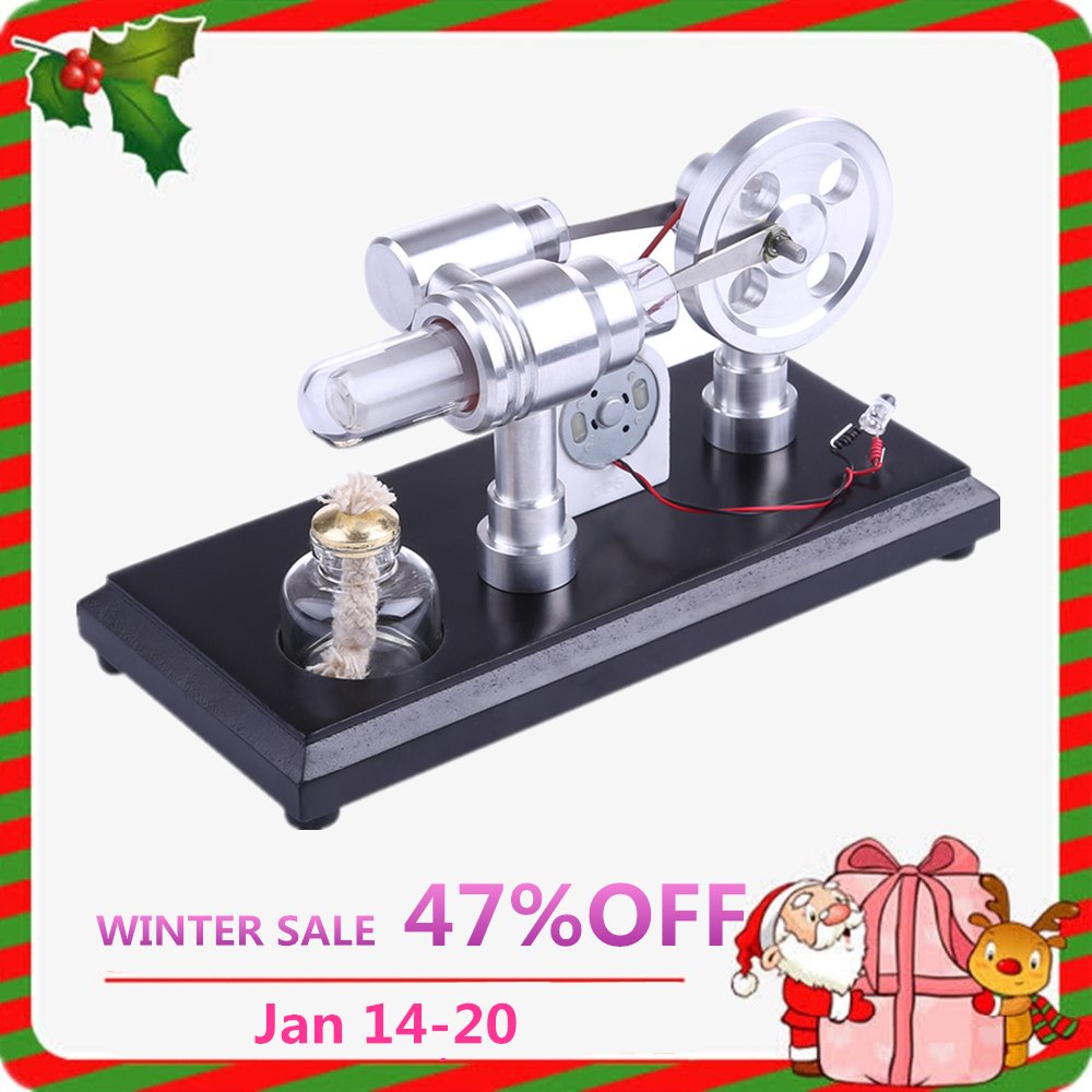 De doble cilindro DIY Micro motor Stirling motor de combustión externa de Aprendizaje Temprano juguetes educativos para niños