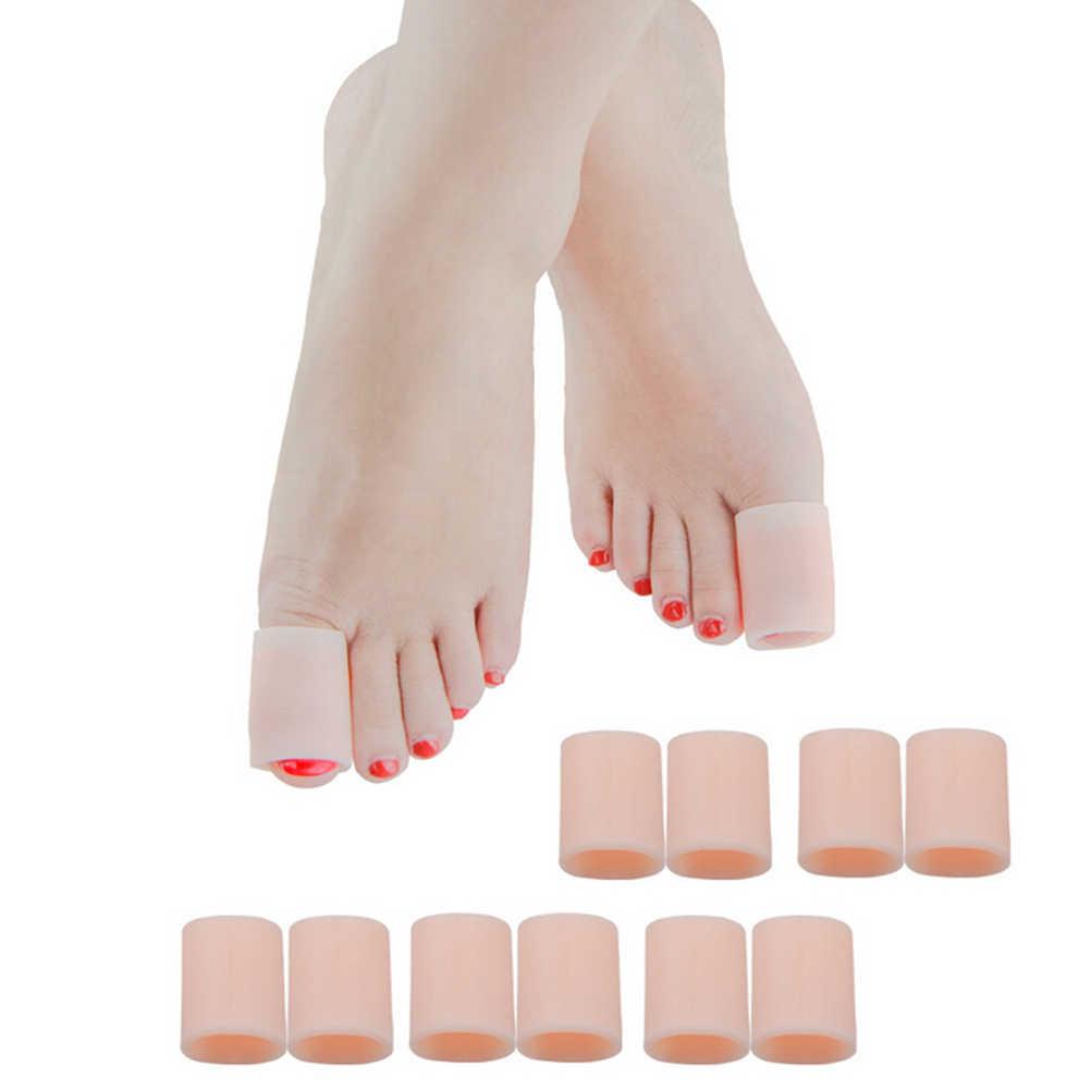 2Pcs solette Piedi di Cura Del Gel Del Silicone Del Tubo Fasciatura Finger & Toe Protezioni Piede Piedi Sollievo Dal Dolore Guardia