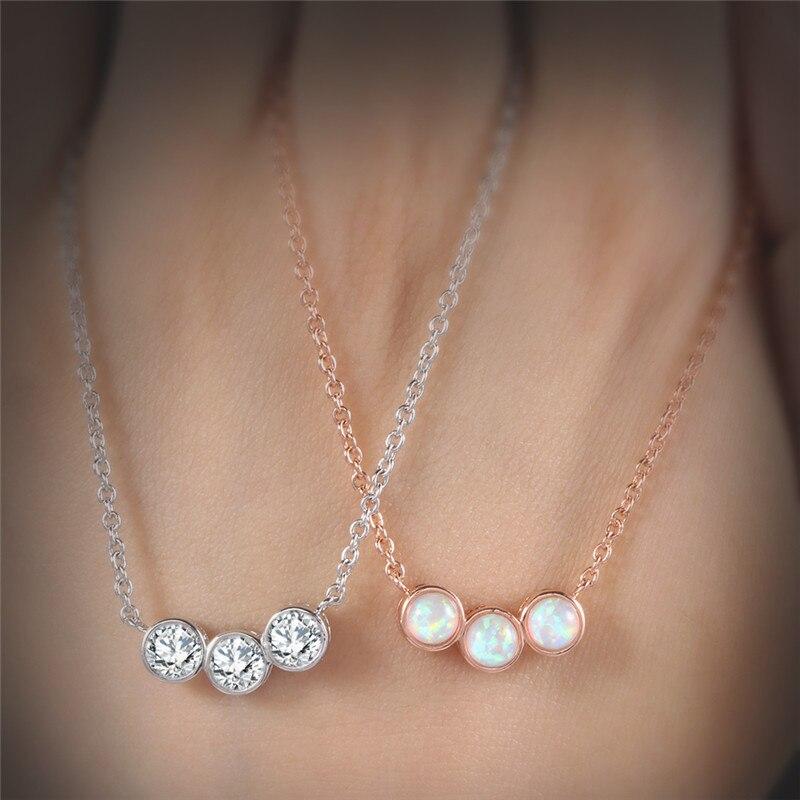 Roxi 2018 Fashion Necklace Women Three Round Fire Opal