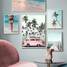 Sunny Beach Sexy Girl cocotero vintage coche cuadro sobre lienzo para pared carteles nórdicos e impresiones cuadros de pared para sala de estar