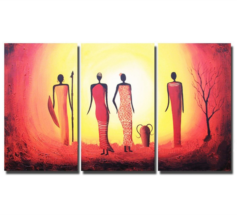 3 Piece Hand Painted Abstract African Woman Oil Paintings Modern ...