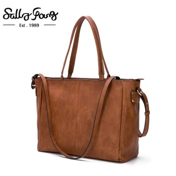 Sally Young  Casual Tote Bag For Ladies  Soft Leather Solid Color Fashion Shoulder Bags ForWomen With Cell Phone Pocket  CT20267 grande bolsas femininas de couro